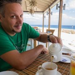 Matt pouring his morning tea