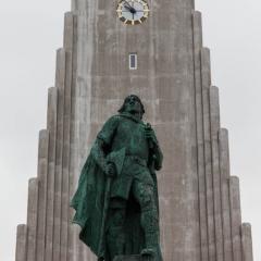 Leifur Eiriksson outside of the Hallgrimskirkja church