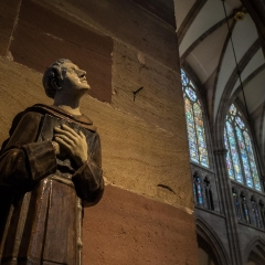 Statue, Notre Dame de Strasbourg Cathedrale, Strasbourg, France