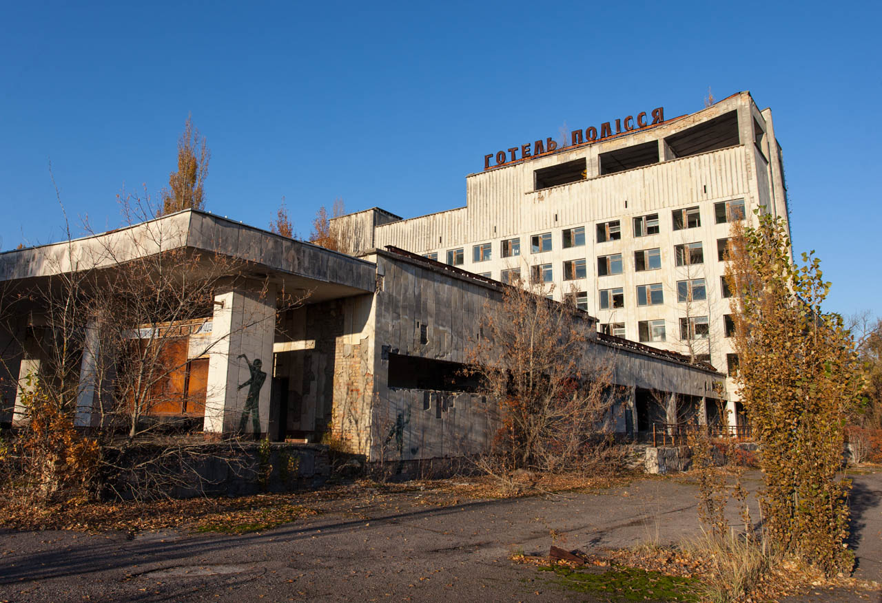 Hotel in Pripyat (with commissioned modern artwork on the column)