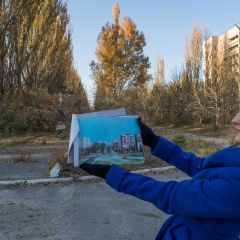 Main Street in Pripyat - Before (book) and After with our guide Tanja