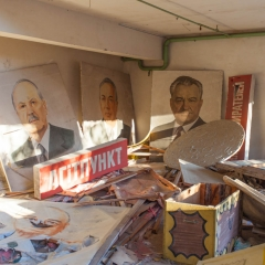 Posters in the theater at Pripyat