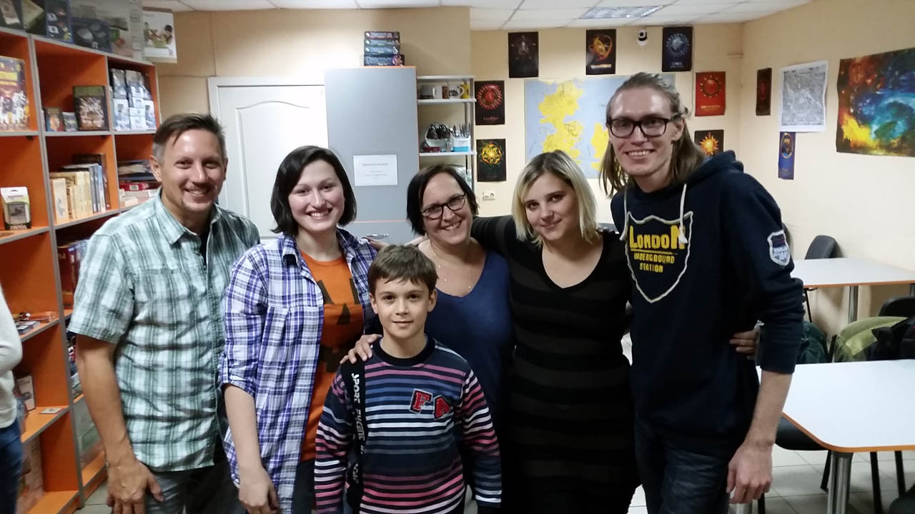 Matt, Stasia, Neeley, Kelli, Denis, and Rustam - Boardgame friends from Kiev