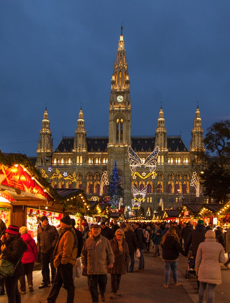 Vienna Rathaus view from the christmas market