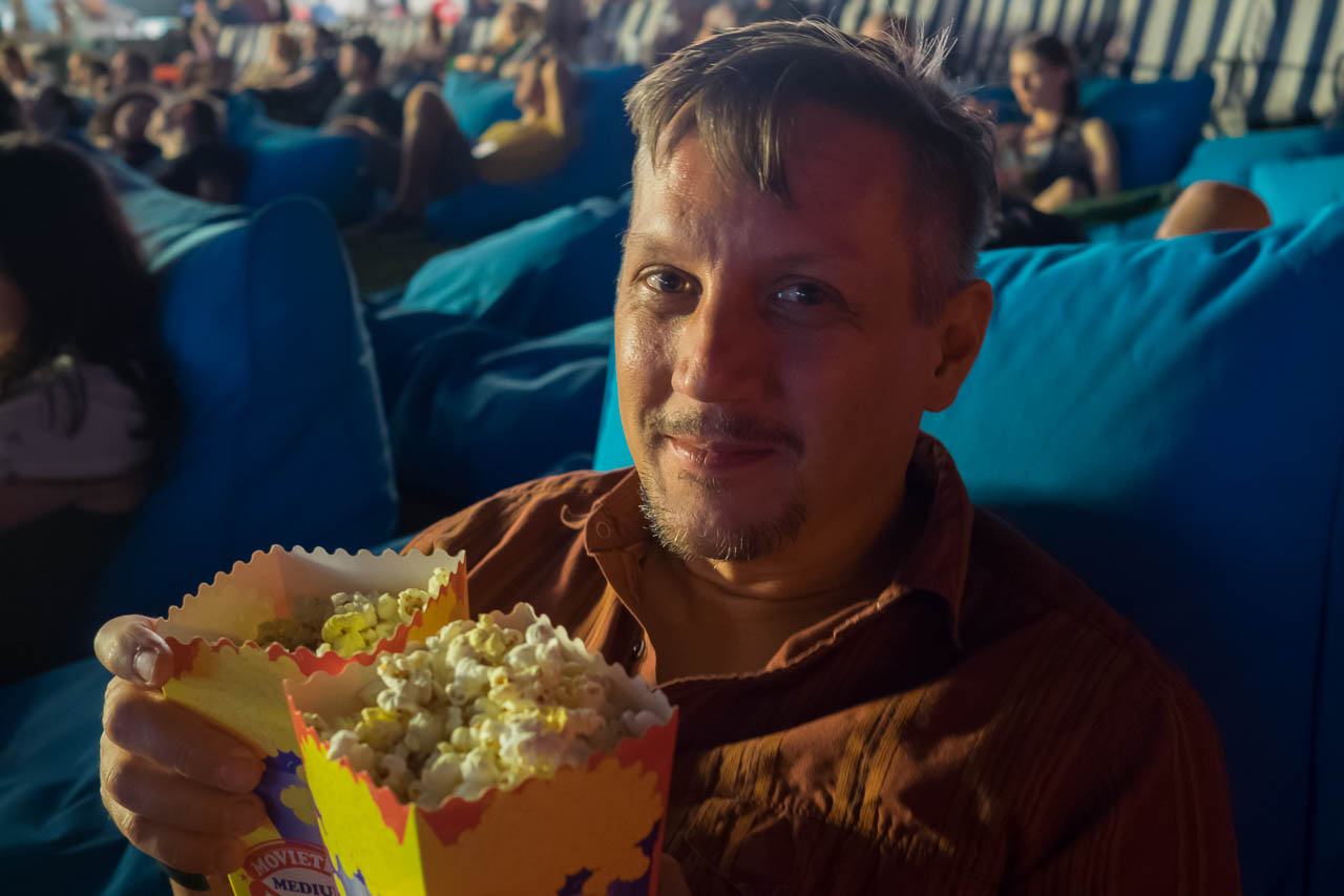 Matt loves popcorn almost as much as Mexican food.